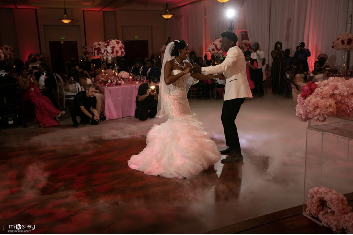 Couples first dance with dry ice effect