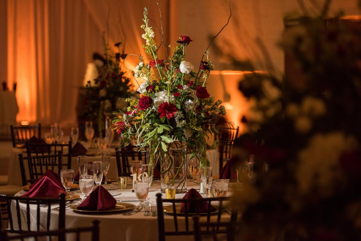 Table decor with large floral center piece