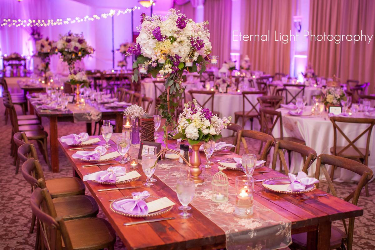 Farm style tables with french country chairs and market lighting in Grand Ballroom