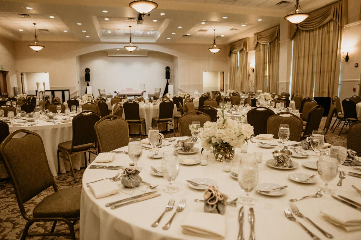 Reception in grand ballroom with banquet chairs