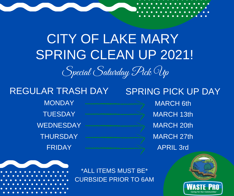 Image of schedule for Spring Clean Up